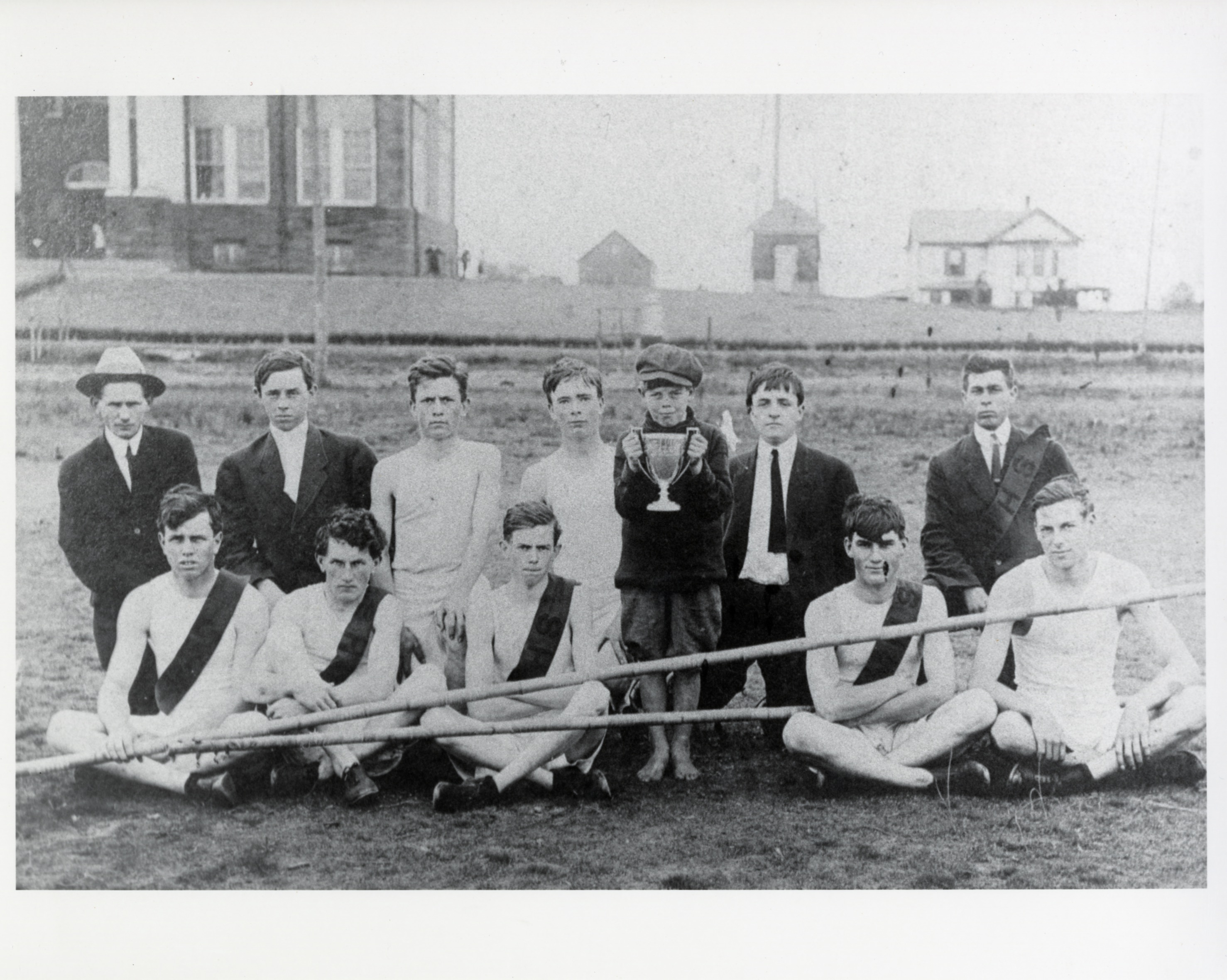 1912 Manassas HS track team and winning trophy